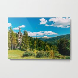 Peles Palace In Transylvania, Architecture Photography, Medieval Castle, Mountain Landscape, Romania Metal Print