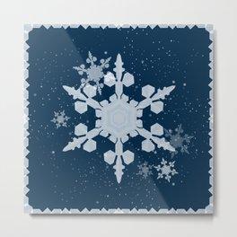 Snow Falls - Blue Metal Print