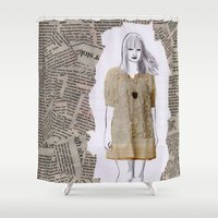 newspaper Shower Curtains featuring Newspaper by Melania B
