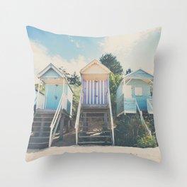 beach huts photograph Throw Pillow
