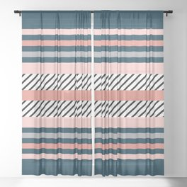 Colorful navy stripes Sheer Curtain