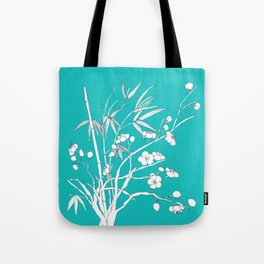 bamboo and plum flower white on blue Tote Bag