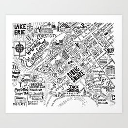 Cleveland Ohio Map Art Print