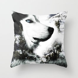 The Husky's Mountain Gaze by Vince Bongiovanni Throw Pillow