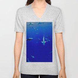 Swarm of Sharks (Color) Unisex V-Neck