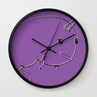 narwhal Wall Clocks featuring Narwhal by Michael Scott Murphy
