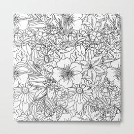 Elegant Hand drawn floral doodles design Metal Print