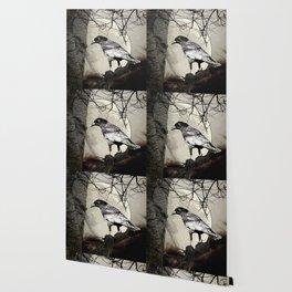 Rustic Black Bird Raven Crow Tree Moon A142 Wallpaper