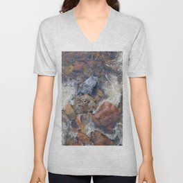 River rocks and rushing water Unisex V-Neck