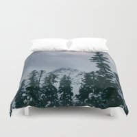 snowboard Duvet Covers featuring Cascade Winter Mountain by Leah Flores
