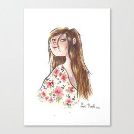 Jeune fille à fleurs Canvas Print