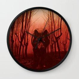 Gwyllgi Black Dog Hellhound Wolf Illustration Wall Clock
