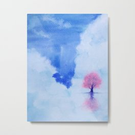 watercolor landscape cherry blossom tree stand alone in the middle sea with blue sky. Metal Print