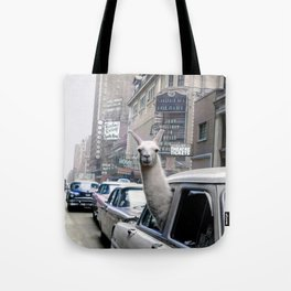 Llama Riding In Taxi In Color Tote Bag