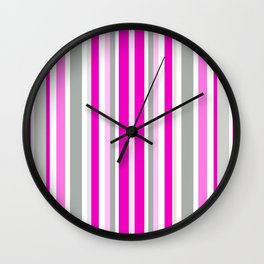 Vertical Stripes Pattern: Pink Wall Clock