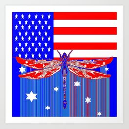 Red-White-Blue Dragonfly Celebration 4th of July Art Print