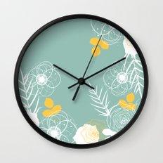 Aqua Retro Floral Wall Clock