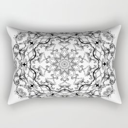 Mandala Project 214 | Black and White Lace on White Rectangular Pillow