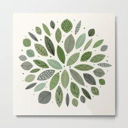 Mid-Century Green Leaves Metal Print