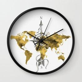 Gold World Map 2 Wall Clock
