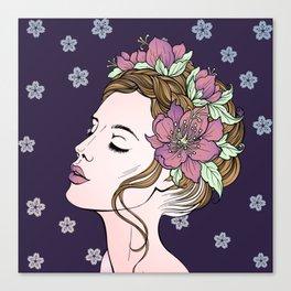 Flower Crown Girl Canvas Print