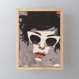 Cleverly - Feminine portrait ink drawing Framed Mini Art Print
