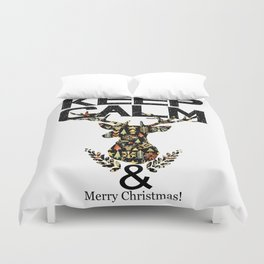 christmas animal with text keep calm Duvet Cover