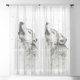 Wolf Howling Sheer Curtain