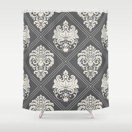 Floral Damask Pattern – Neutral Dark Gray Shower Curtain