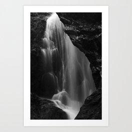 Black and white waterfall long exposure Art Print