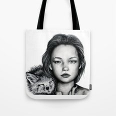 The Girl and Fox Tote Bag