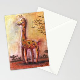 Giraffe For Children Pastel Chalk Drawing Stationery Cards