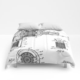 Hair Drier Patent - Salon Art - Black And White Comforters