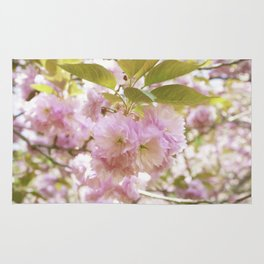 double cherry blossoms with soft hues of pink petals Rug