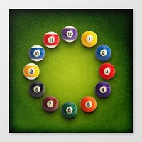 novelty Canvas Prints featuring Billiards Snooker Novelty Clock by KittyBitty
