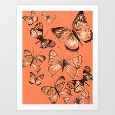 Coral butterflies Art Print