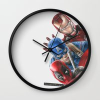 heroes Wall Clocks featuring Heroes  by Molly Thomas
