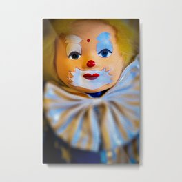 Blue clown doll sad portrait, oil texture effect Metal Print
