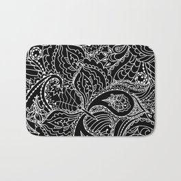 Hand painted abstract black white watercolor floral butterfly Bath Mat