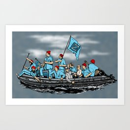 Team Zissou Crossing the Delaware Art Print