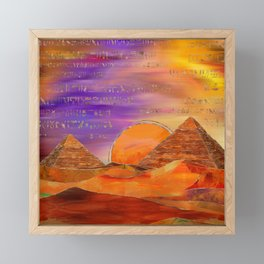 Egyptian pyramids abstract landscape Mixed Media Framed Mini Art Print