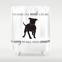 pit bull Shower Curtains featuring Love is a pit bull No. 8 by Shay by design