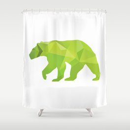 Bear - Green geomatric Shower Curtain