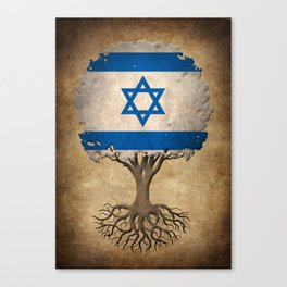 Vintage Tree of Life with Flag of Israel Canvas Print