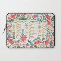 elegant Laptop Sleeves featuring Little & Fierce by Cat Coquillette