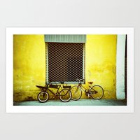 bicycles Art Prints featuring Bicycles by The Dalai Lomo
