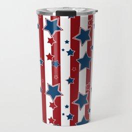 Blue stars, red striped Travel Mug