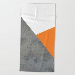 Concrete Tangerine White Beach Towel