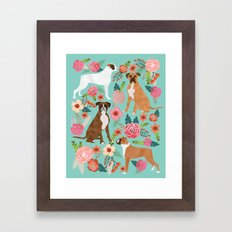 Boxer dog breed florals mint pastel turquoise cute pet portrait animal fur baby must have gifts  Framed Art Print