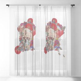 Skull Flower Power 01 Sheer Curtain